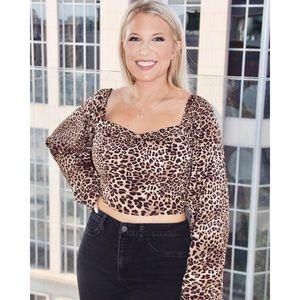 BRAND NEW - crop bell sleeve cheetah blouses